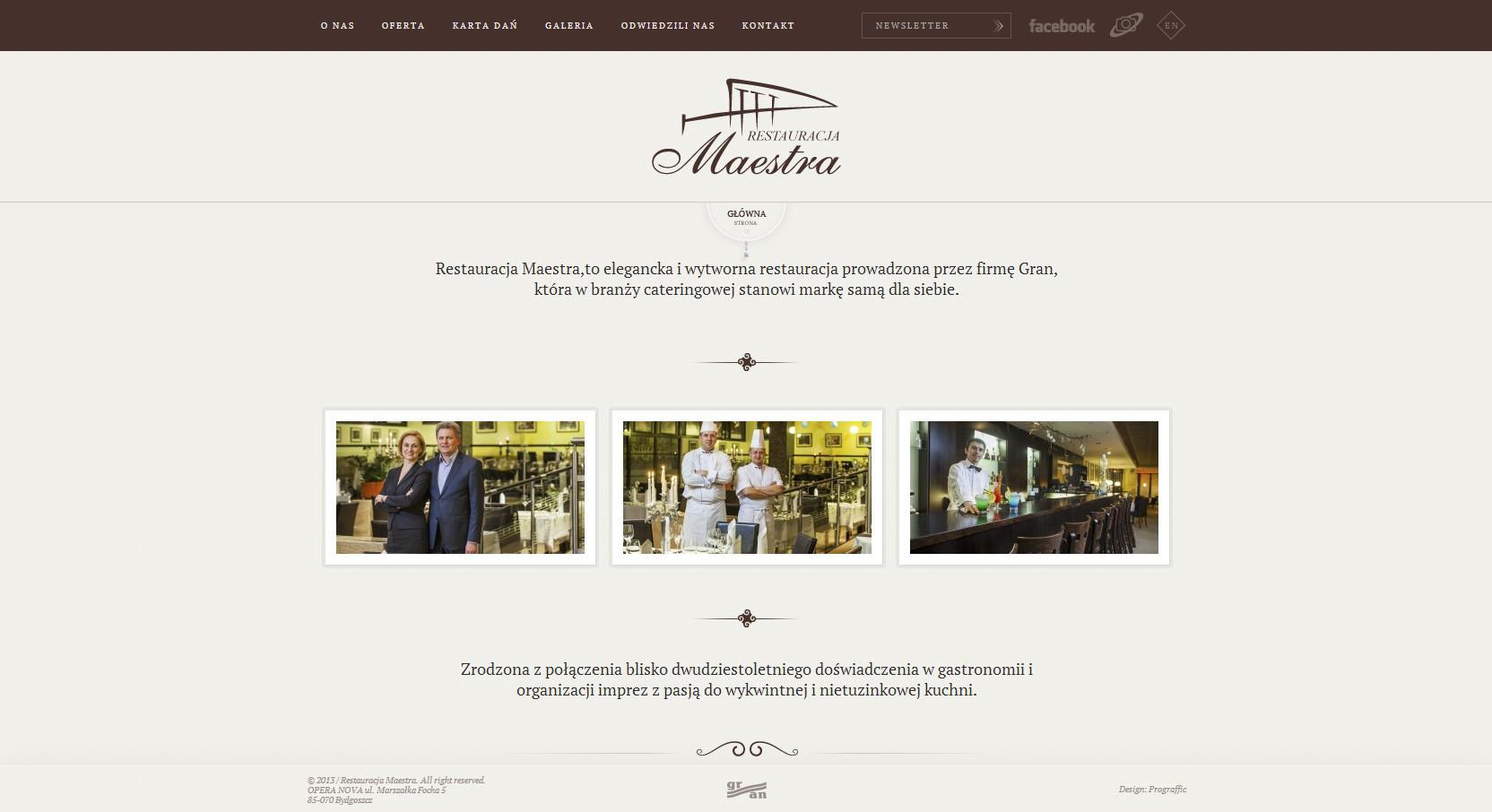 Strona WWW Restauracji Maestra